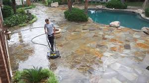 Sealing A Flagstone Patio by Cleaning Flagstone Patio Youtube