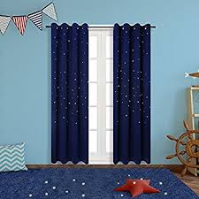 Royal Blue Blackout Curtains Amazon Com Anjee Navy Blue Star Print Blackout Curtains For Kids