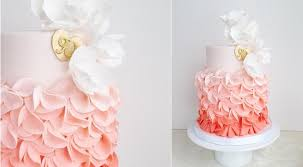 peach ombre wedding cake ruffle wedding cakes petal ruffles cake geek magazine