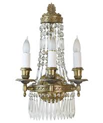 Brass Sconces Brass And Crystal 3 Arm Sconces 4 Available Louis Xvi
