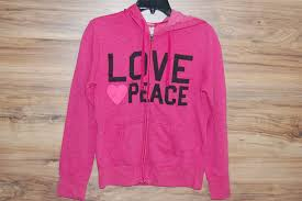 mossimo womens zip up hoodie sweatshirt pink love peace long