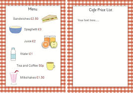 editable menu template editable cafe price list menu early years play free