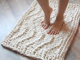 wave chunky soft natural cotton hand knit rug rectangular big