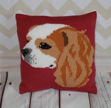 Knitted Cushion Cover Patterns Blenheim Cavalier King Charles Spaniel Cushion Cover Knitting