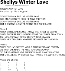 country song lyrics with chords shellys winter