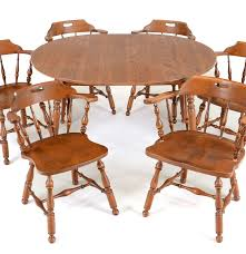 Maple Table And Chairs Early American Style Maple Dining Table And Six Chairs Ebth
