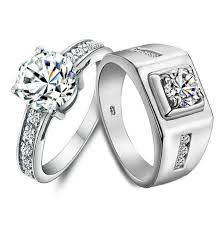 wedding rings his hers name engraved 2 carat diamond gold engagement rings for two