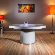 large round grey gloss dining table glass lazy susan led lighting