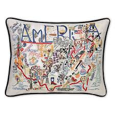 america canada embroidered pillows handmade colorful