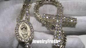 custom rosary 14k gold finish lab diamond iced out custom rosary necklace