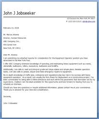 equipment operator cover letter examples creative resume design