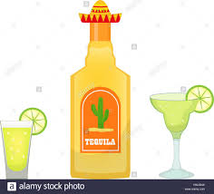 cartoon alcohol bottle tequila bottle with glasses and pieces of lime icon flat cartoon