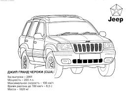 jeep cherokee cartoon jeep grand cherokee u0026 raquo coloring for kids print free