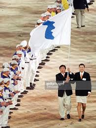 Korea Flag Image Flag Bearers Jang Choo Pak L Of North Korea And Pictures Getty