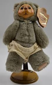 raikes applause nursery alison fully jointed gray wooden face bear