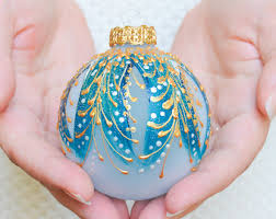 christmas ornament hand painted bauble blown glass ball