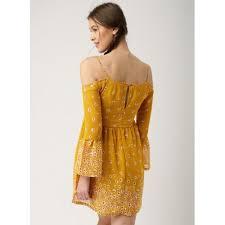 coloured dress buy dressberry mustard yellow coloured printed skater dress online