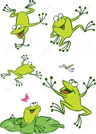 the illustration shows of some cartoon frogs in various poses