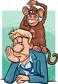 cartoon humor concept illustration of monkey on your back saying
