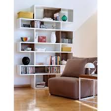 london white walnut triple modern bookcase eurway