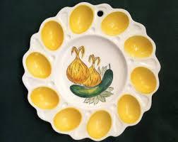 ceramic egg dish deviled egg platter etsy