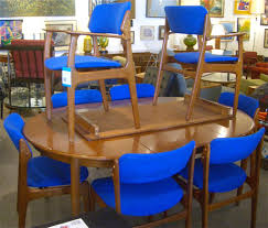 erik buck dining chairs teak wood blue fabric mid century