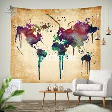 Map Wall Decor by Wall Ideas World Map Watercolor Wall Tapestry Grunge World Map