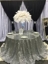Wedding Linens For Sale Big Sale European Embroidered Silver Sequin Tablecloth 120 Round