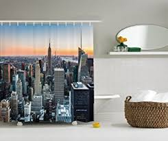 Skyline Shower Curtain Amazon Com New York Shower Curtain By Ambesonne New York City