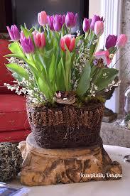 wonderful tulip arrangement for a cedar tub or whiskey barrel