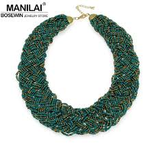 beaded statement necklace images Manilai vintage beaded handmade chunky chain bib choker collar jpg
