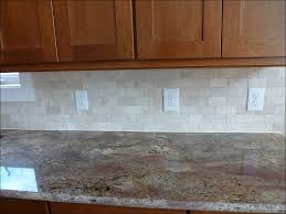 Kitchen Tile Backsplash Design Ideas Kitchen Brown Wooden Kitchen Cabinet Beige Tiled Back Splash