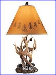 table lamp set 2 deer antler lamps shade rustic pair vintage