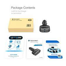 usb car charger tecknet powerdash d2 9 6a 48w 4 port rapid usb