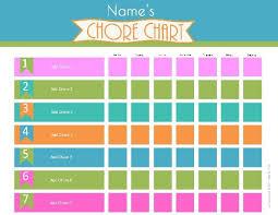 chore list template chore chart template