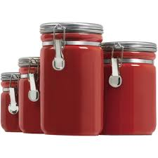 Glass Canister Sets For Kitchen by Red Canister Set For Kitchen Kenangorgun Com