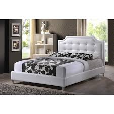 Full Platform Bed With Headboard Amazon Com Baxton Studio Carlotta Modern Bed With Upholstered