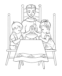 thanksgiving dinner coloring page sheets and say grace