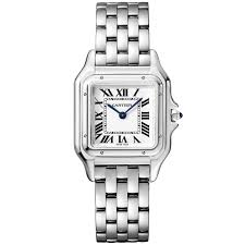 ladies silver bracelet watches images Cartier panthere small steel silver roman dial ladies bracelet watch jpg