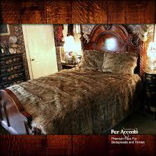 Faux Fur King Size Blanket Premium Faux Fur Bedspread Golden Brown Wolf Skin Coyote Shag