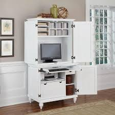 Computer Hutch Armoire Home Styles Bermuda Brushed White Compact Computer Cabinet And