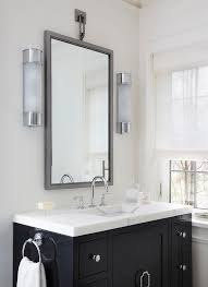 Polished Nickel Vanity Mirror Gray Striped Marble Vanity Countertop Transitional Bathroom