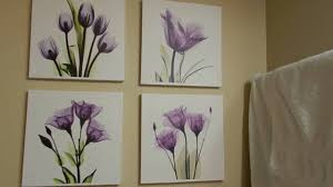 paintings for living room hlj art 4 panel elegant tulip purple flower canvas print wall art