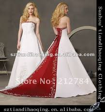 two color wedding dress high neckline strapless a line with two color embroidered satin