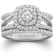 wedding ring trio sets 1 1 4ct diamond engagement cushion halo wedding ring trio set 10k