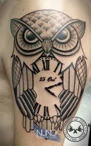 les plus beaux tatouages homme owl with clock tattoo ink u0027d pinterest