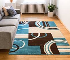 Area Rug Blue Echo Shapes Circles Blue Brown Modern Geometric