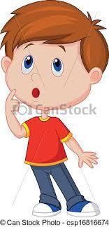 boy clipart vector illustration of boy thinking vectors
