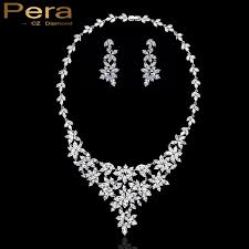 white stone necklace sets images Pera elegant white gold color long cubic zircon stone necklace jpg