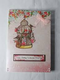 gold bird cage birthday card greeting card pink floral birds